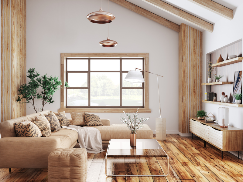 Living Room with neutral furniture.